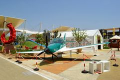 Small airplane parked at the EXPO Milano 2015. Stock Photos