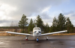 Small airplane parking - front view Royalty Free Stock Images