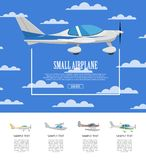 Small airplane poster with propeller aircrafts. Side view sporty plane in cloudy blue sky. Comfortable air transportation, pilot academy advertising Stock Image