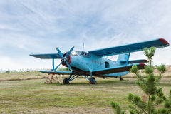 Small airplane. Propeller close-up photo Royalty Free Stock Image