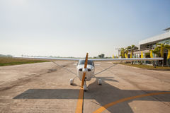 Small airplane with propeller in front. Stock Image