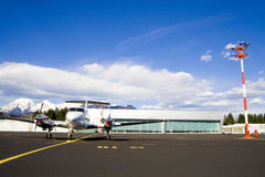 Small airplane on runway Royalty Free Stock Images