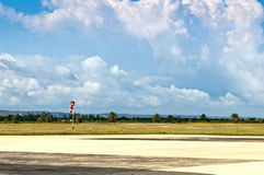 A small airport. Airfield and windsock at a small airport Stock Photos