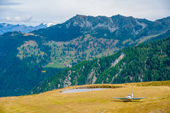 Small airport in mountains Royalty Free Stock Photos