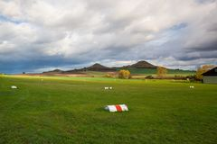 Small airport at sunrise. Small airport, Central Bohemian Highlands, Czech Republic Royalty Free Stock Image