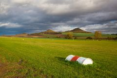 Small airport at sunrise. Small airport, Central Bohemian Highlands, Czech Republic Stock Image