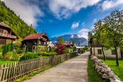 Small alley in the alpine village Royalty Free Stock Image