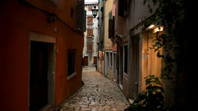 Small alley in Pula Croatia glidecam footage stock video