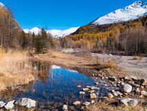 Small alpine mountain pond in fall - Val Ferret, Courmayer Stock Photo