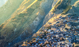 Small alpine resort close to a gorge. French alps stock images