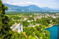 Bled Castle. The small alpine town of Bled with a beautiful lake, Slovenia Stock Image