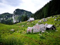 Beautiful peaceful alpine valley in slovenian mountains stock photography