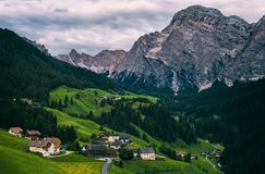 Small alpine villages nearby La Valle Stock Image