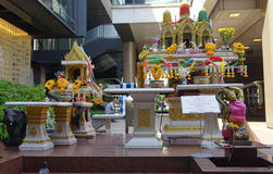 Small altar on street in Bangkok Royalty Free Stock Photography