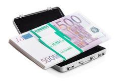Small aluminum suitcase full of euro Stock Photos