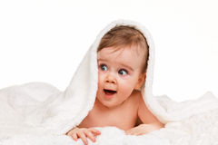 Small amazing child in the baby blanket Royalty Free Stock Photo
