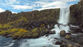 Small amazing waterfall Oxararfoss and river in Iceland, basalt rocks and yellowed grass in autumn. Day, panorama stock video footage