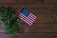 Small American Flag with fern on aged, weathered rustic wooden Background. Stock Photo