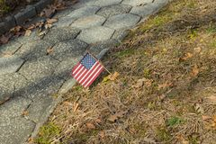 Small American flags at National cemetery- Memorial Day display stock photo
