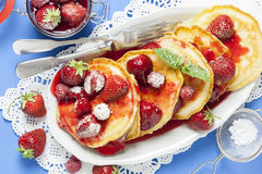 Small American Pancakes with Strawberry and Raspberry Stock Photo