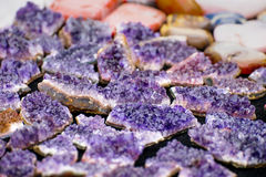 Small amethyst plates. Many small purple amethyst plates royalty free stock photo
