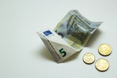 Little money. 5 euros and 50 cents. royalty free stock photography