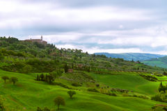 Small ancient city on the hill. This picture was taken at the entrance to Pienza Tuscany Royalty Free Stock Images