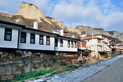 Small ancient old village Melnik. A panorama of old small ancient village Melnik - Bulgaria Stock Photo