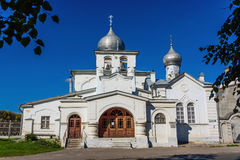 Small ancient orthodox church in Pskov in the summer Royalty Free Stock Images