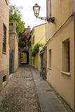 Small ancient street in the old downtown of Ferrara Stock Photos