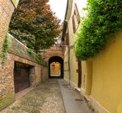 Small ancient street in the old downtown of Ferrara Royalty Free Stock Photo