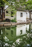 A small ancient village nearby canal Royalty Free Stock Photos