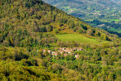 Small ancient village surrounded by forests in the Ariege mounta Stock Photography