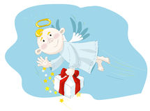 Small angel flying on the blue sky Royalty Free Stock Images