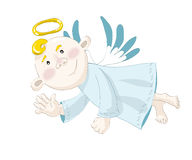 Small angel flying on the blue sky Stock Photos