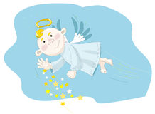 Small angel flying on the blue sky Royalty Free Stock Image