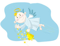Small angel flying on the blue sky Stock Image