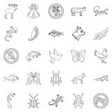 Small animal icons set, outline style. Small animal icons set. Outline set of 25 small animal vector icons for web isolated on white background Royalty Free Stock Photo