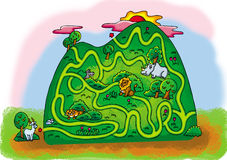 Hillside maze. Small antelope want to climb to the top of the mountain and see the sunrise Royalty Free Stock Images