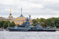 Small anti-submarine ship in Day of the Russia Flag,  St.-Petersburg Stock Images