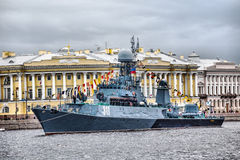 Small anti-submarine ship Kazanetz in Day of the Russia Flag in St.-Petersburg Stock Photography
