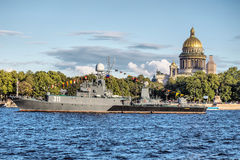 Small anti-submarine ship Kazanetz in Day of the Russia Flag, St.-Petersburg Stock Image