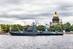Small anti-submarine ship Kazanetz in St.-Petersburg Royalty Free Stock Photos