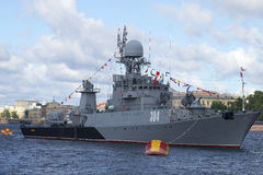 The small anti-submarine ship Urengoi on the Neva River close-up. St. Petersburg Stock Photo