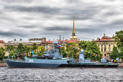 Small anti-submarine ship Urengoy in Day of the Russia Flag  in St.-Petersburg Stock Photography