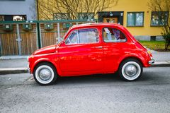 Retro small red Italian car Fiat Nuova 500 at the street of Oslo Royalty Free Stock Photos