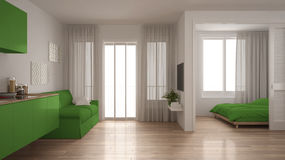 Small apartment with kitchen, living room and bedroom, white and Royalty Free Stock Image