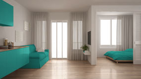 Small apartment with kitchen, living room and bedroom, white and Royalty Free Stock Images