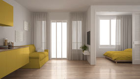 Small apartment with kitchen, living room and bedroom, white and Royalty Free Stock Photography