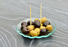 Small appetizer with black and green olives Royalty Free Stock Image